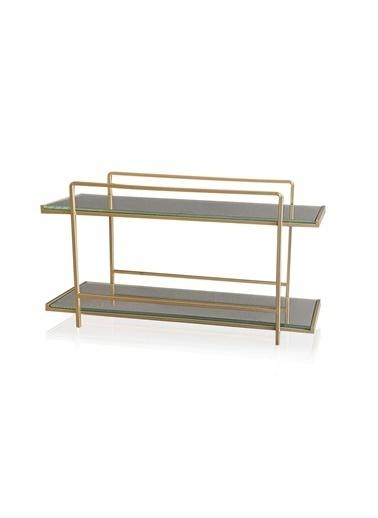 The Mia Kozmetik Standı 2 Katlı Gold - 20x37x13 Cm Altın